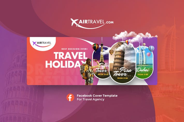Air Travel Facebook Cover V 3 by Last40 on Envato Elements