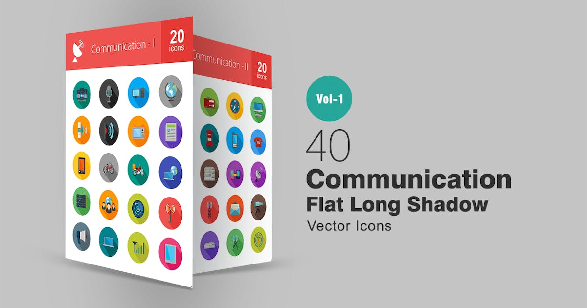 Download 40 Communication Flat Long Shadow Icons by IconBunny