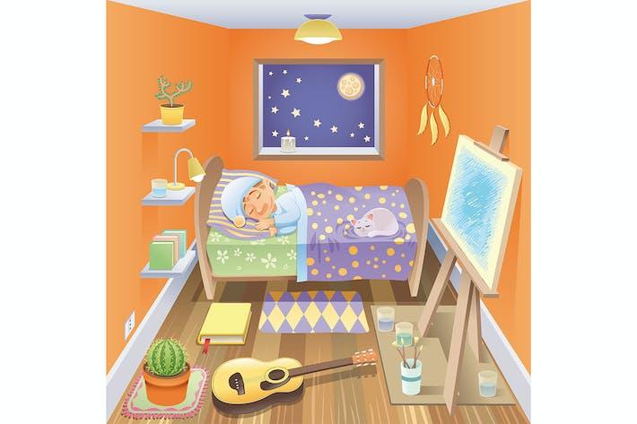 Thumbnail for Boy is sleeping in his bedroom.