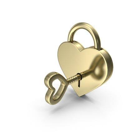 Gold Vorhängeschloss und Schlüssel
