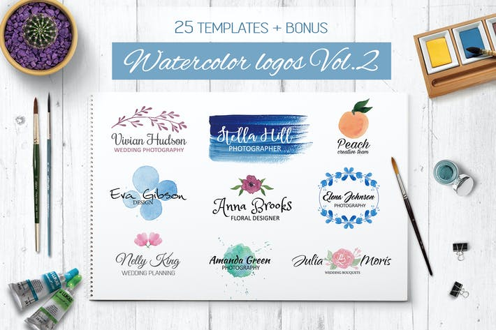 Thumbnail for Watercolor Logo Templates Vol.2