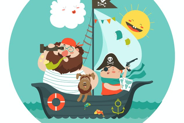 Happy dad and son sailing at their pirate ship.
