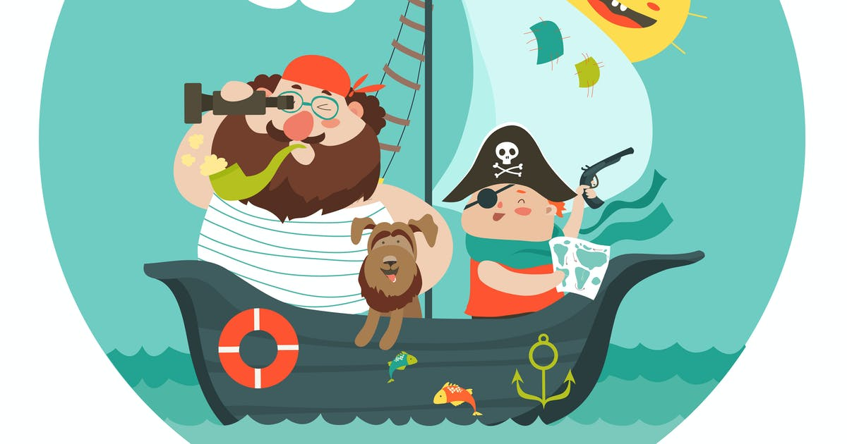 Download Happy dad and son sailing at their pirate ship. by masastarus