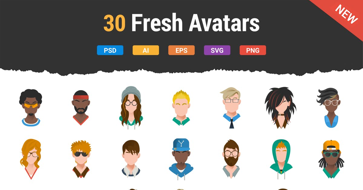 Download 30 Fresh & Modern Avatars by Krafted