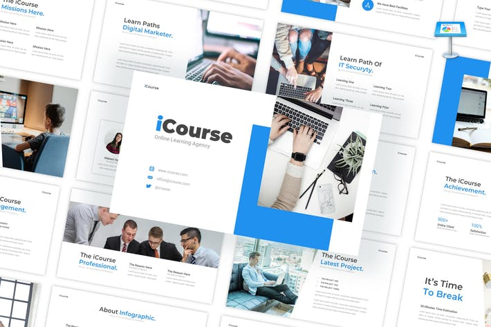 Thumbnail for iCourse - Online Learning Keynote Template