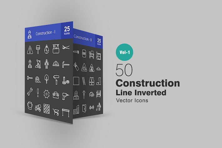 Thumbnail for 50 Construction Line Inverted Icons