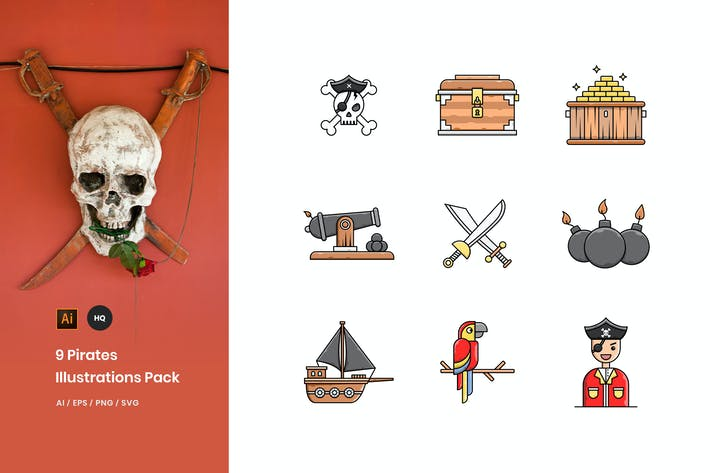Thumbnail for Pirates Illustrations Pack
