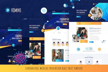 Vimns - React Next Coronavirus Medical Prevention