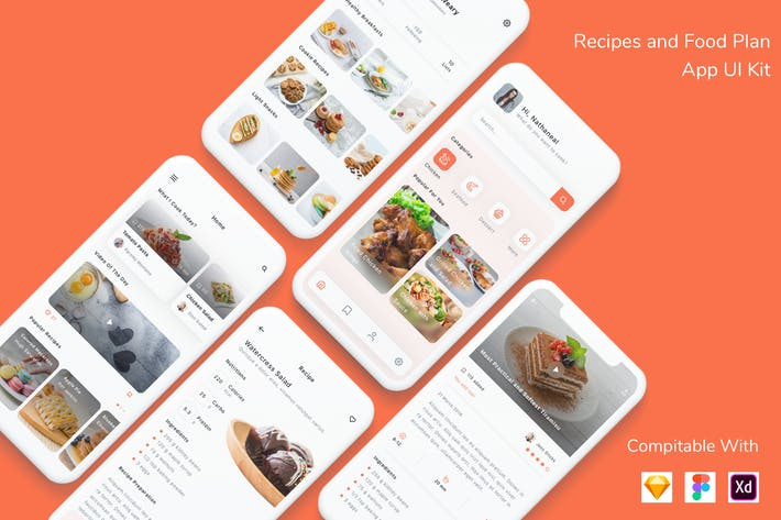 Thumbnail for Recipes and Food Plan App UI Kit