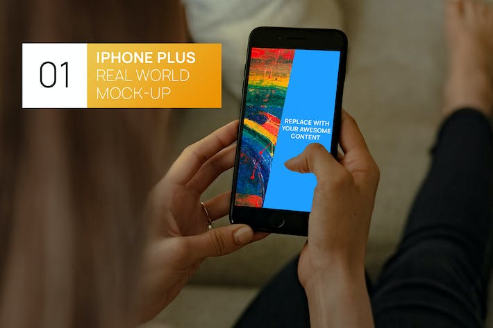 Thumbnail for iPhone Plus Woman Hands Real World Mock-up