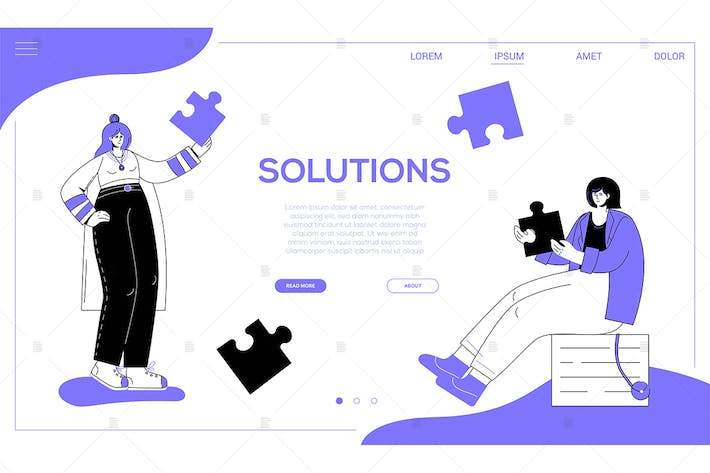 Thumbnail for Solutions - colorful flat design style web banner