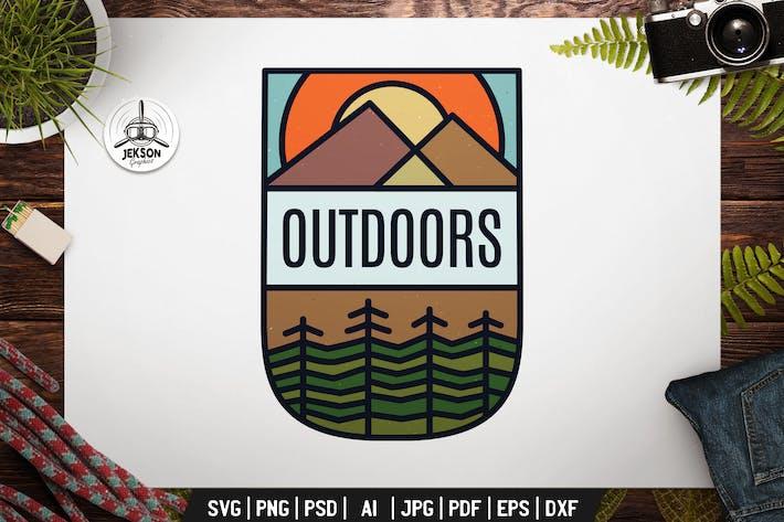 Thumbnail for Outdoors Emblem Modern Logo SVG. Travel Badge