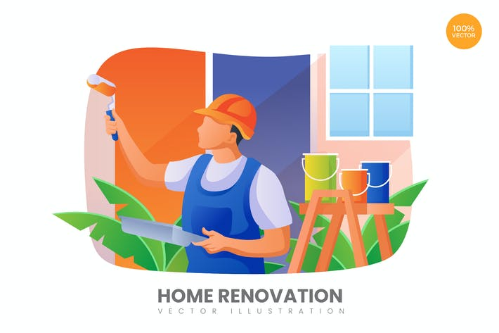 Thumbnail for Home Renovation Vector Illustration Concept