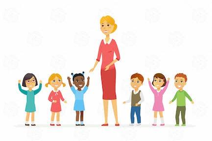 Maestro de jardín de infantes con niños