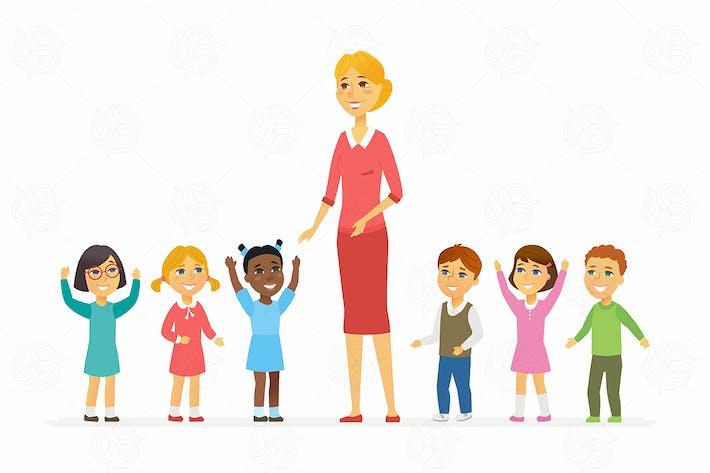 Thumbnail for Kindergarten teacher with children