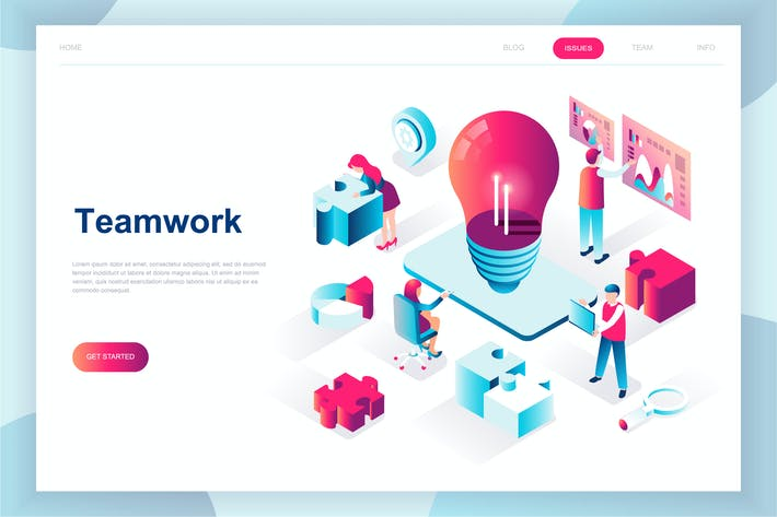 Thumbnail for Teamwork Isometric Landing Page