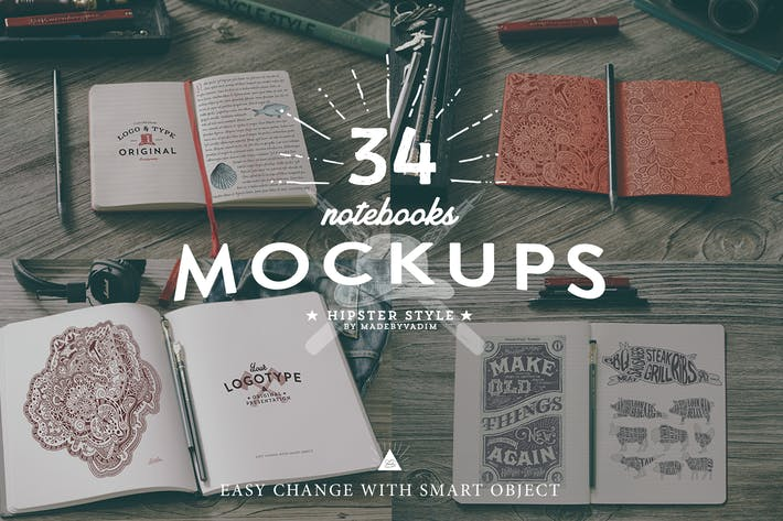Thumbnail for 34 Hip Notebook Mock-ups