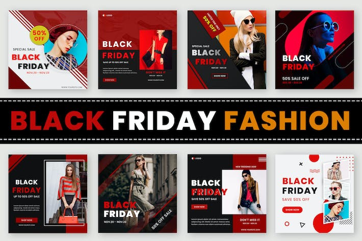 Thumbnail for Black Friday Fashion Sale Web Banners
