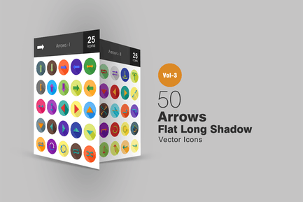 50 Pfeile flache Shadowed Icons