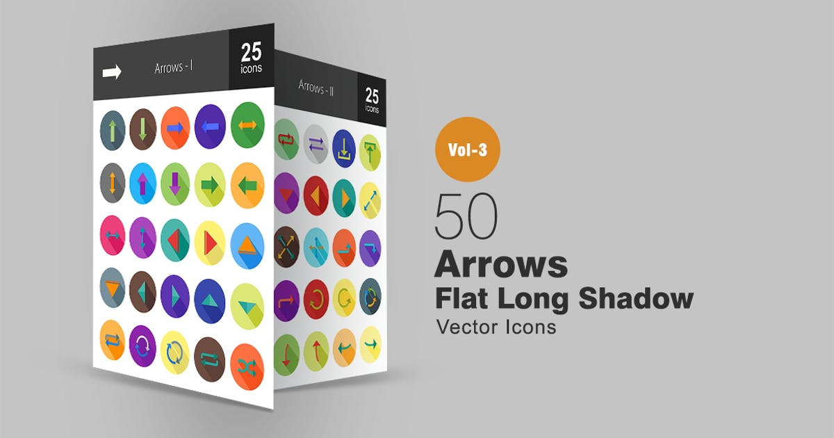 Download 50 Arrows Flat Shadowed Icons by IconBunny