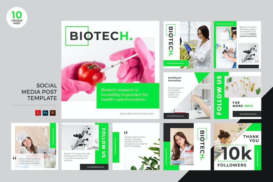 Biotechnology Social Media Kit PSD & AI