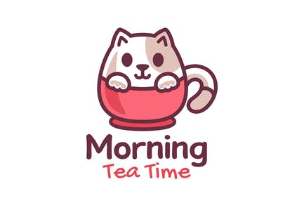 Cute Little Cat on the Cup Logo Design