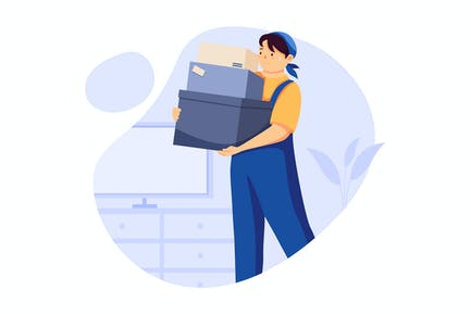 Heavy Lifting - Handyman Service Illustration