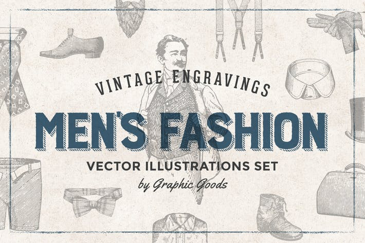 Thumbnail for Men's Fashion - Engraving Illustration Set