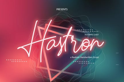 Hastron | Neon Monoline Script