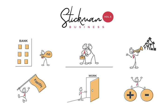 Thumbnail for Business Stickman Vector Illustration Set 5