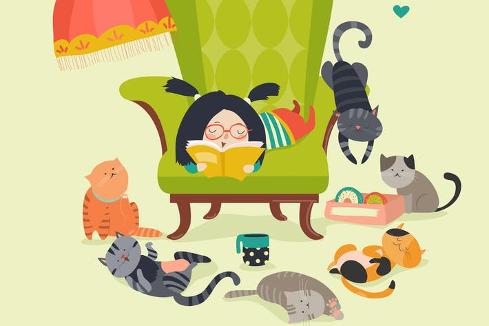 Thumbnail for Cute girl reading book to cats. Vector