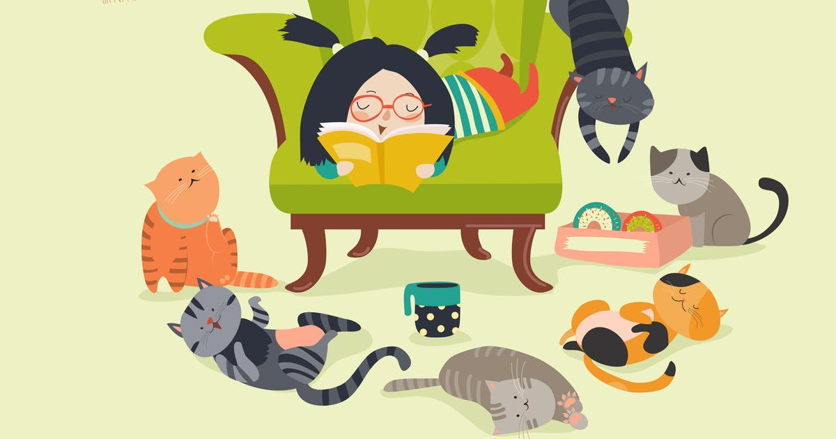 Download Cute girl reading book to cats. Vector by masastarus
