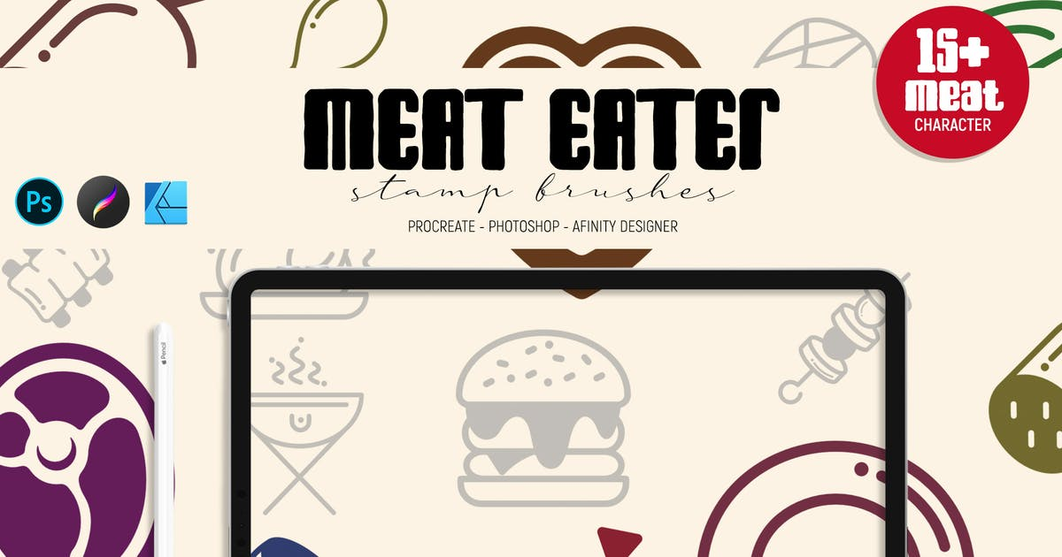 Download Meat Eater   Stamp Brushes by LetterStockStd