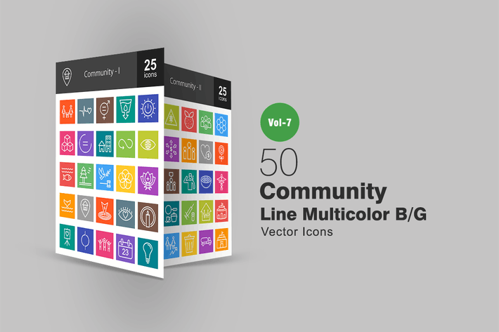 Cover Image For 50 Community Line Multicolor B/G Icons