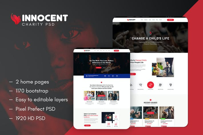 Thumbnail for Innocent - Nonprofits Charity PSD Template