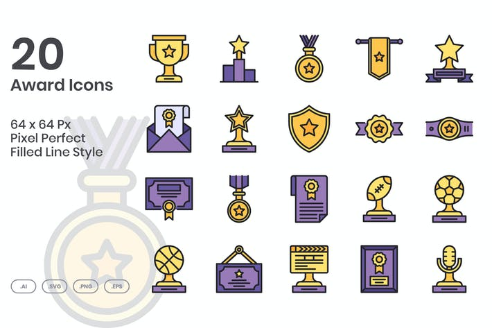 Thumbnail for 20 Award Icons Set - Filled Line