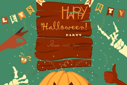 Trick or treat. Halloween poster background card.