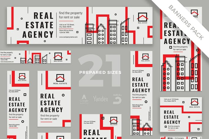 Thumbnail for Real Estate Agency Banner Pack Template