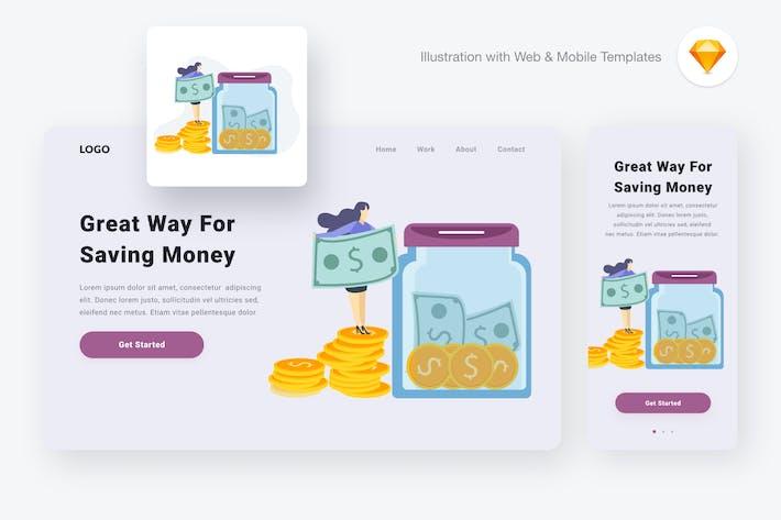Thumbnail for Saving money illustration (Sketch & SVG)