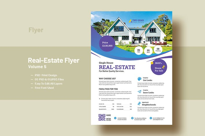 Thumbnail for Real-Estate Flyer Template V-5