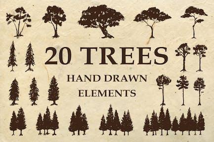 Hand Drawn Trees Elements