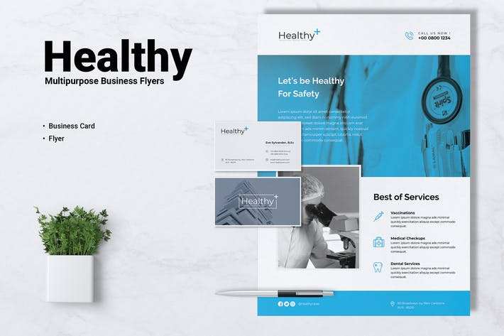 Thumbnail for HEALTHY Medical Flyer & Business Card