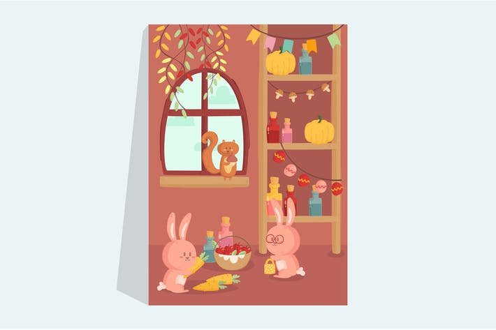Thumbnail for Rabbit and Squirrel Illustration Poster