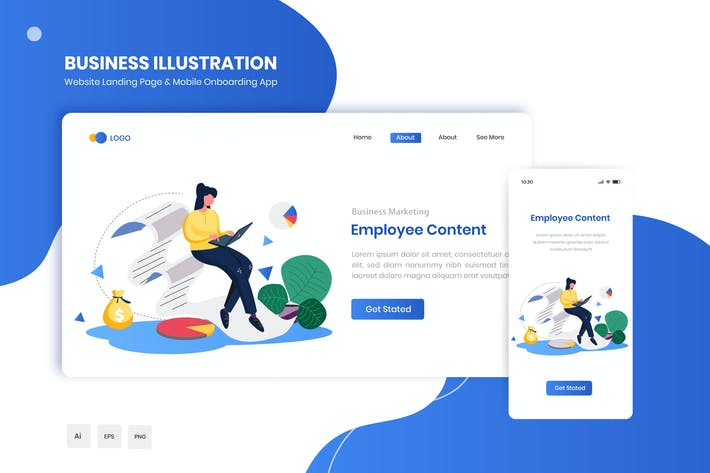 Thumbnail for Employee Content Flat Landing & Onboarding App