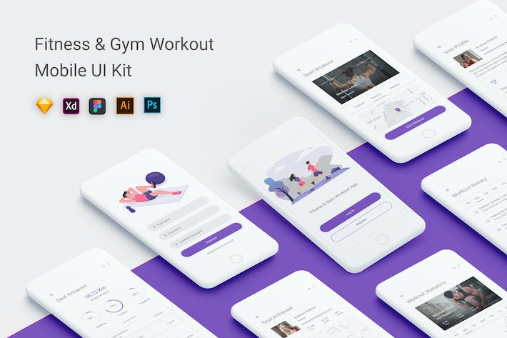 Thumbnail for Fitness & Gym Workout UI Kit Mobile App