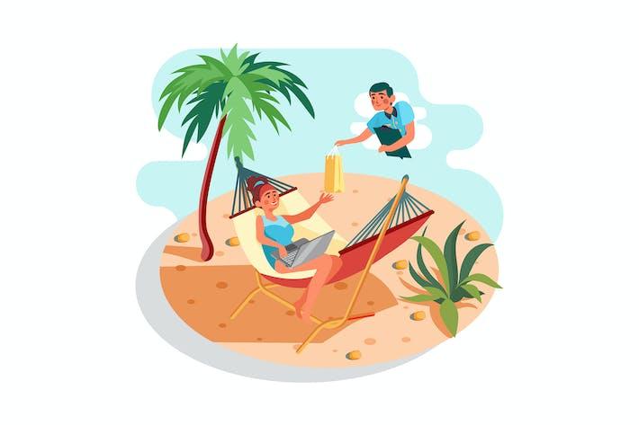Thumbnail for A girl shopping online at a beach.