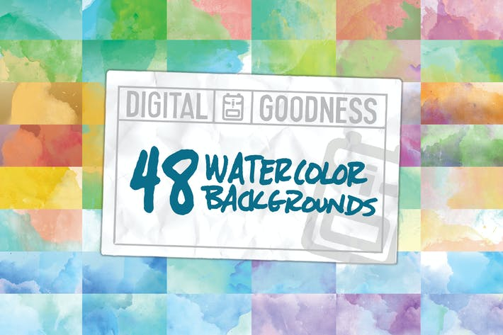 Cover Image For 48 Watercolor Backgrounds