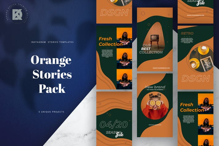 Orange Instagram Stories Pack /Kit