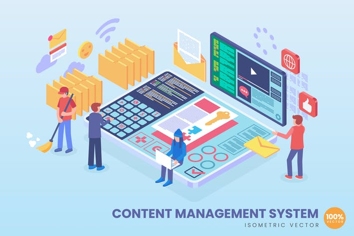 Thumbnail for Isometric Content Management System Concept