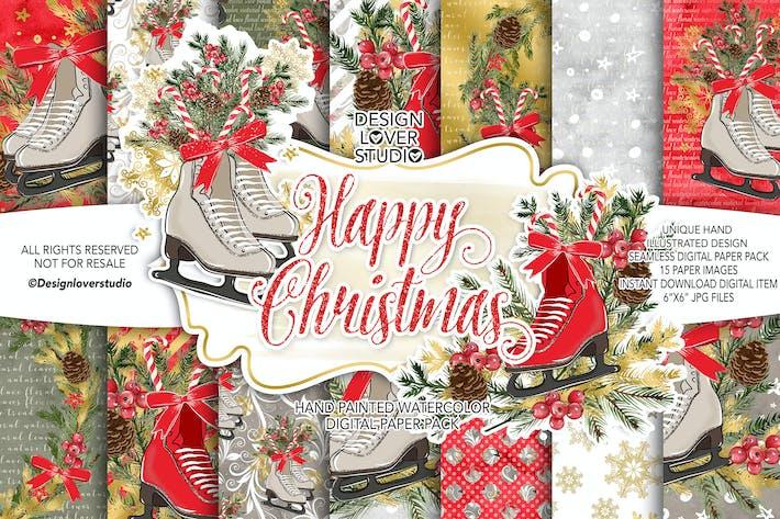 Thumbnail for Skates Christmas digital paper pack